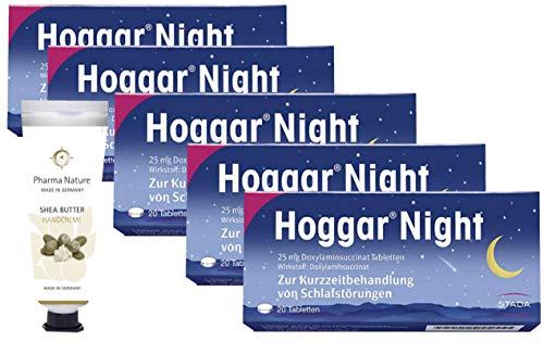 Hoggar night Tabletten 5 x 20 Stück Sparset inkl. einer pflegenden Handcreme o. Duschbad von Pharma Nature