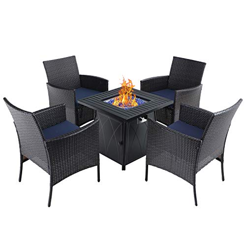 Sophia & William Patio 5 Pieces Dining Set with 1 Square Gas Fire Pit Table and 4 PE Rattan Chairs, Modern 2 in 1 50000 BTU Outdoor Propane Firepits Table Auto-ignition Black 28.4'L x 28.4'Wx 24.8'H