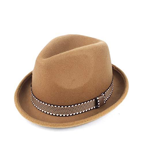 YUANBO WU Gentleman Cap Topper Sombrero de Copa Sombrero de ala Jazz Atractiva Mujer de Piel Sombrero Inteligente (Color : Caqui, Size : 56-58)