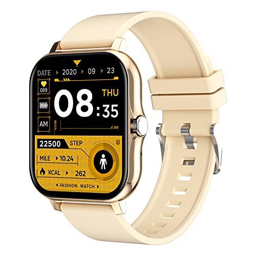 HQPCAHL Smartwatch Mujer Reloj Inteligente Elegante Llamada Bluetooth Soporte para Hacer/contestar Llamadas telefónicas, Monitor de Sueño Pulsómetros, 8 Modos Deportivos Fitness Tracker,Oro