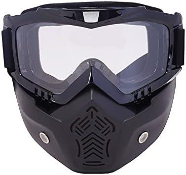 Hombres Mujeres Ski Snowboard Mask Snowmobile Skiing Goggles Evite Motocross Gafas Protectoras Gafas de Seguridad con Filtro de Boca (Color : S22 Clear)