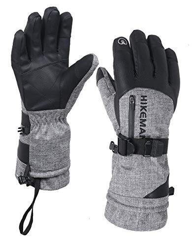 HIKEMAN Winter-Skihandschuhe mit Tasche, wasserdicht, atmungsaktiv, Thinsulate-Handschuhe, warme Handschuhe für Skifahren, Snowboarden, Radfahren und andere Wintersportaktivitäten - grau - XL