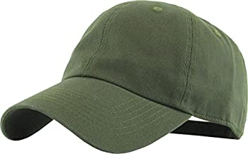 KB-LOW OLV Classic Cotton Dad Hat Adjustable Plain Cap. Polo Style Low Profile (Unstructured) (Classic) Olive Adjustable
