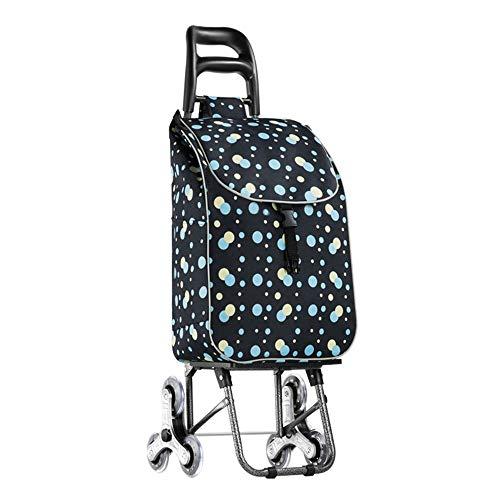 DHTOMC boodschappentrolley, opvouwbaar, Oxford-stoffen tas, winkelmandje, kersenprint, climbing trolley, winkelmandje, 6 wielen voor privégebruik, winkelwagen op wielen
