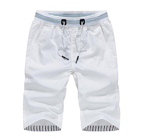 Bigood Vogue Casual Pantalon Court Souple en Polyester Short Sport Plage Blanc Taille M