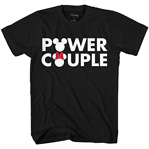 Disney Mickey Mouse Minnie Power Couple Matching Adult T-Shirt(Black,X-Large)