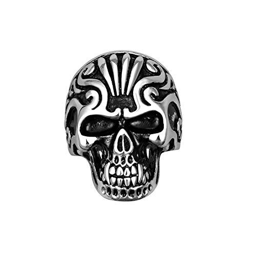 Anillo De Cráneo Retro Gótico, Anillo De Hombre De Acero Inoxidable 316L, Joyería De Fiesta De Moda De Montar En Bicicleta Hip Hop De Punk,10