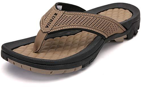 KUBUA Men's Beach Flip-Flops Water Sandals Outdoor Athletic Thong Sandal Slippers
