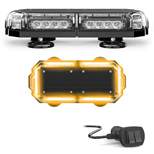 SpeedTech Lights Mini 14 72 Watts LED Strobe Lights for Trucks, Cars, Plows, and Emergency Vehicles with Magnetic Roof Mount - Amber/Amber (Yellow/Yellow)