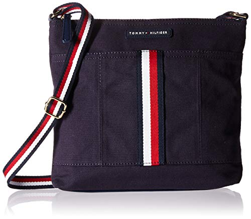 Tommy Hilfiger Crossbody for Women TH Flag Canvas,  Tommy Navy, One Size