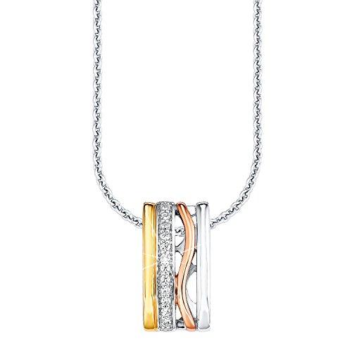 S.Oliver Damen-Collier Silber vergoldet teilvergoldet Zirkonia weiß 45.0 cm - 508728