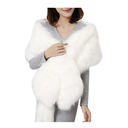 Koly_sciarpa spessore caldo lungo scialle della pelliccia di inverno delle donne (bianca)