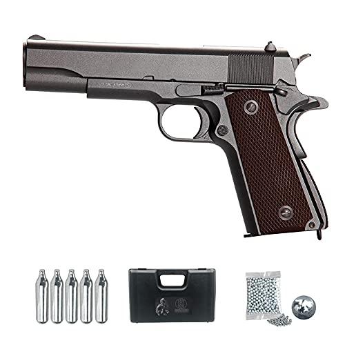 Pistola 911 kwc blowback | Arma de balines (BB's de Acero) semiautomática Calibre 4,5mm Tipo Colt 1911 + CO2, Bolas y maletín de PVC