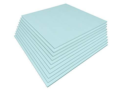 Placas de construcción de maquetas, 10 unidades, de poliestireno, grosor de 20 mm, ancho de 56 cm, longitud de 56 cm