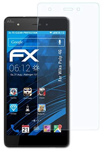 atFolix Schutzfolie kompatibel mit Wiko Pulp 4G Folie, ultraklare FX Bildschirmschutzfolie (3X)