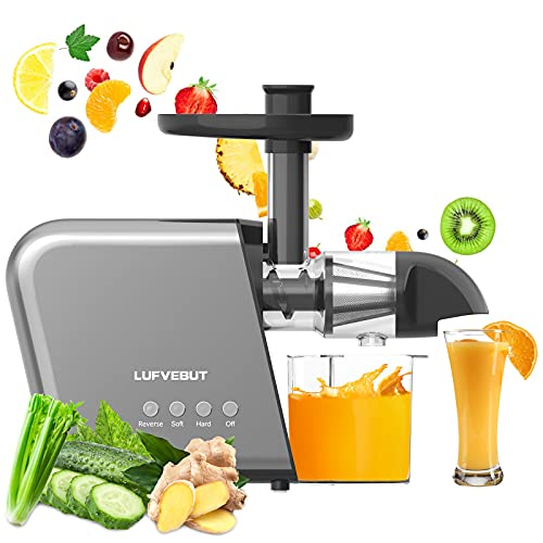 Celery Carrot Wheatgrass Ginger Orange Cold Press Juicer Extractor, Lufvebut Leafy Green Fruits Vegetables Slow Juicer Masticating Juicer Machines Electric BPA Free Easy To Clean Reverse Function