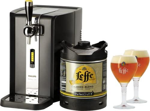 Leffe Blonde PerfectDraft Tireuse à Bière et 1 fût 6L Bière d'abbaye belge + 2 verres de 25 cl - 5 euros de consigne inclus
