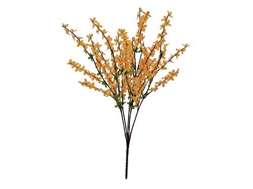 Forsythie Kunstpflanzen Busch mit gelblich orangen Blüten 60cm - Kunstpflanze künstliche Blumen Kunstblumen Blumensträuße künstlich, Seidenblumen oder Blumen aus Plastik Kunststoff
