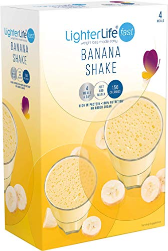 LighterLife Fast Banana Shake, High Protein, Powder Meal Replacement Shake, 4 x 40g Servings per Box
