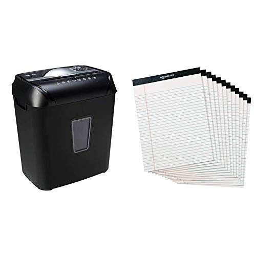 AmazonBasics 12-Sheet Cross-Cut Paper and Credit Card Home Office Shredder & Legal/Wide Ruled 8-1/2 by 11-3/4 Legal Pad - White (50 Sheet Paper Pads, 12 Pack)