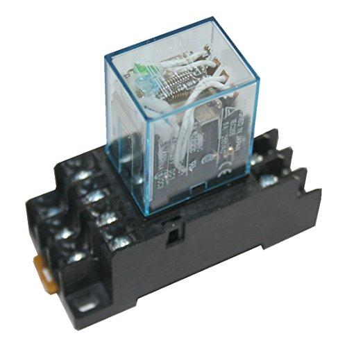 Hutschienenrelais Hutschienensockel Relais mit grüner LED 4 Wechsler 24V (0000)
