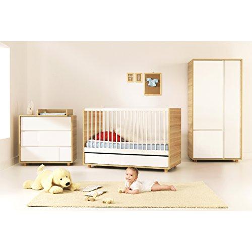 Chambre complète lit évolutif 70x140 - commode à langer - armoire 2 portes Evolve - Bois