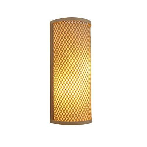 Lámparas de pared, bambú Mimbre Ratán Túnel Aplique de pared Rústico Asiático Japonés Coreano Aplique Luminaria Dormitorio Dormitorio Corredor [Clase de energía A ++]