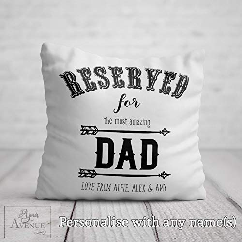 No Brands 40x40cm BEST DAD CUSHION Personalised Reserved for Dad Pillow Cover Daddy Birthday Gift Fathers Day Present Fathers Day Cushion for Dad