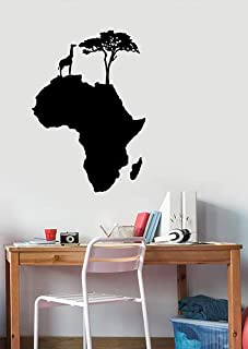 Africa Map Silhouette Vinyl Wall Decal Giraffe Tree Animal Sticker Savannah Art Geography Decorations for Home Living Room Bedroom Decor afm3