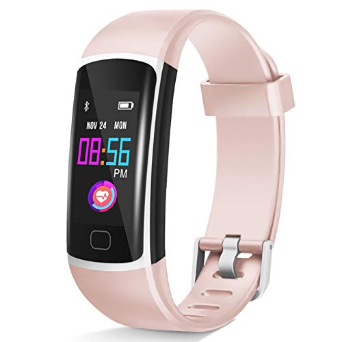 Fitness Tracker, Waterproof Activity Tracker with Heart Rate Monitor and Sleep Monitor,Waterproof Pedometer, Step Counter, Calories Counter for Android & iPhone (Lavenderblush)