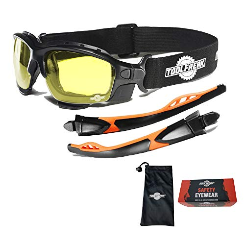 ToolFreak Spoggles Gafas de Seguridad para Trabajo y Deporte, Cristales HD Amarillos,Protección contra Rayos UV e Impactos, Acolchado de Espuma, con bolsa