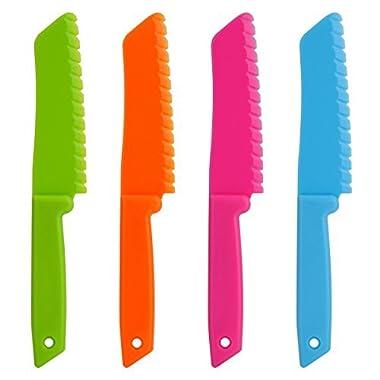 ONUPGO 4-Piece Plastic Kitchen Knife Set - Chef Nylon Knife/Children's Cooking Knives, Kids Baking Knife for Fruit, Bread, Cake, Lettuce Knife, Salad Knife and Safe Kitchen Knife(4 Colors)