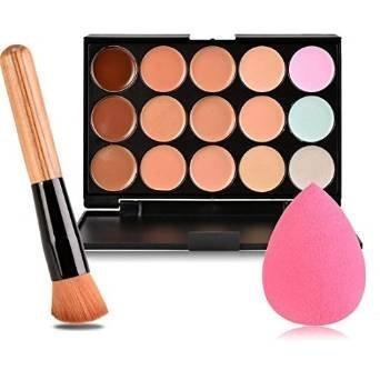 Boolavard nuovo 15 colori contorno viso crema trucco Concealer Palette + pennello polvere + Puff spugna rosa
