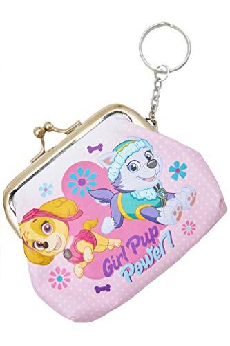 Paw Patrol portemonnee met sleutelhanger Skye & Everest met de spreuk Girl Pup Power, roze voor meisjes, kinderen