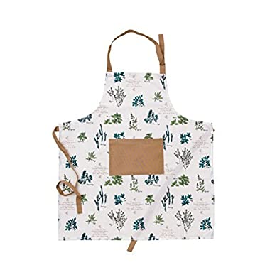Mayfair Linen 100% Cotton Apron with an adjustable neck & visible centre pocket, 27.50 - inch by 31.50 - inch designed in France (Basil)