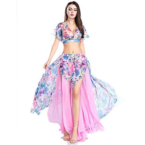 ROYAL SMEELA Bauchtanz Rock Bauchtanz Oberteil Anzug Sexy Kostum Damen Performance Kleider Blumen Chiffon Tanzen Tops Röcke Kostüm Outfit Set für Frauen