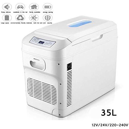 L&B-MR Tragbarer 35L Minikühlschrank 12V 24V Autokühlschrank Mini Gefrierschrank Horizontal Und Vertikal Dual-Use Auto/Home Heiß/Kalt Familie Kleiner Kühlschrank/Mit Temperaturanzeige