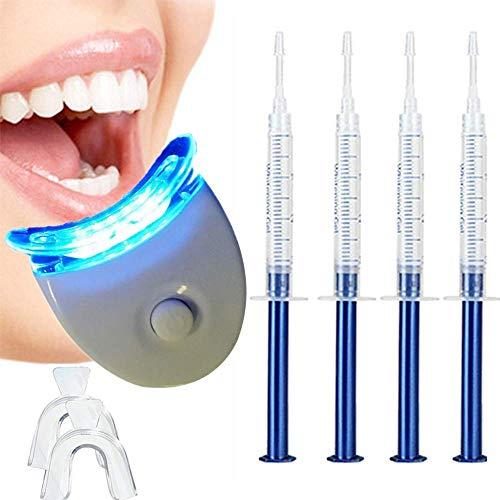 Bleaching Zähne, Teeth Whitening Kit, Wiederverwendbares Zahnaufhellung Set, Zahnaufhellungsgel für Weiß Zähne, Gegen Gelbe Zähne, Rauchflecken, Schwarze Zähne