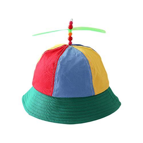JOYKK Niños Niños Helicóptero de algodón Hélice Gorra de Cubo Bloque de Color Patchwork Libélula con Cuentas Verano Protección Solar Sombrero de Pescador - Arco Iris Colorido