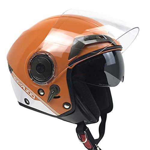 WXFQY DOT & ECE-Zertifizierung Motorradhelme, Doppelscheibenhalbhelme, Abnehmbare Auskleidungen Quick Sockets Schutzhelm - Orange (Size : L)