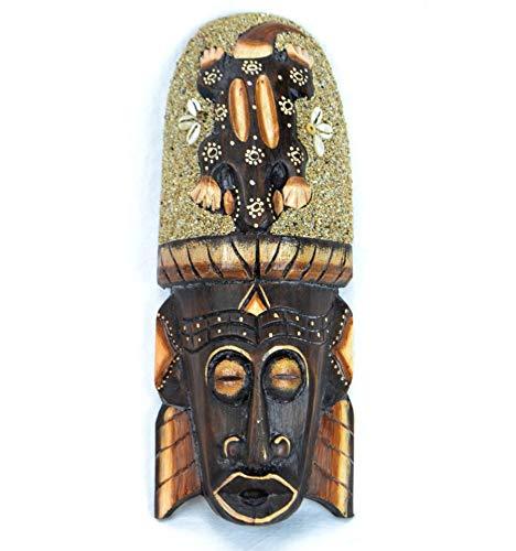 Artisanal Máscara Africano 30cm Madera Décor Gecko Arena y Conchas cauris