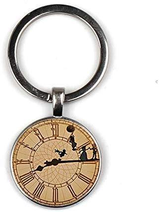 Huang Glass art Schwarzer Peter Pan Schlüsselanhänger aus Glas, inspiriert von der Uhr, Peter Pan Big Ben