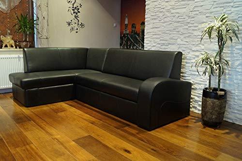 Quattro Meble zwarte echt lederen hoekbank Antalya 2 extra 164x245 cm hoekbank linksbank met bedfunctie en bedkast zwart echt leer hoekbank