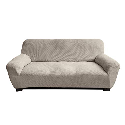 RESIDENZ Sofa Überwürfe Jacquard Sofabezug Elastische Stretch Spandex Couchbezug Sofahusse Sofa Abdeckung in Beige und Grau 1er 2er 3er - Schutz vor Dreck
