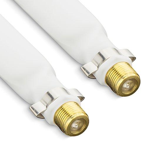 deleyCON Fensterdurchführung SAT Kabel 21,5cm Länge 16cm flexibel Kupplung Fenster & Türen extrem flach 2mm geschirmt 2 Stück - Weiß