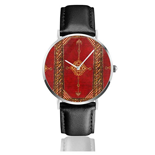Montre à quartz en cuir avec motif persan et tapis oriental, style ancien, unisexe, style classique, décontracté, tendance, en acier inoxydable avec bracelet en cuir