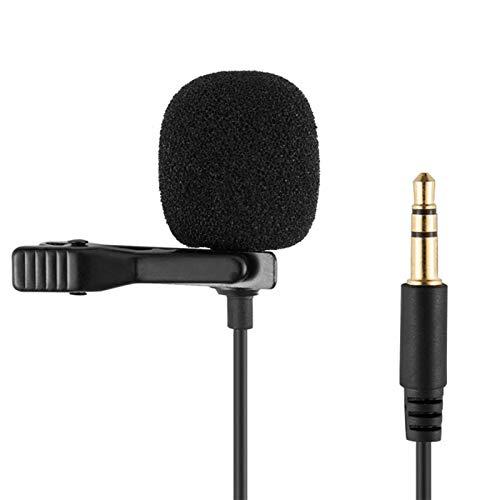 happygirr Micrófono Lavalier de 3,5 mm, condensador omnidireccional con clip, micrófono universal, grabadora de ordenador, micrófono para smartphone, fácil de conectar y usar (1,5 m)