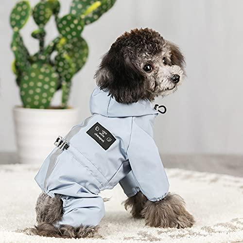 Idepet Hunde Regenjacke, Hund Wasserdichter Mantel mit Kapuze Leichte Regen Poncho mit Reflektierendem Streifen Geschirrloch für Kleine Mittlere Hunde Welpen Katzen Kätzchen (M, Blau)