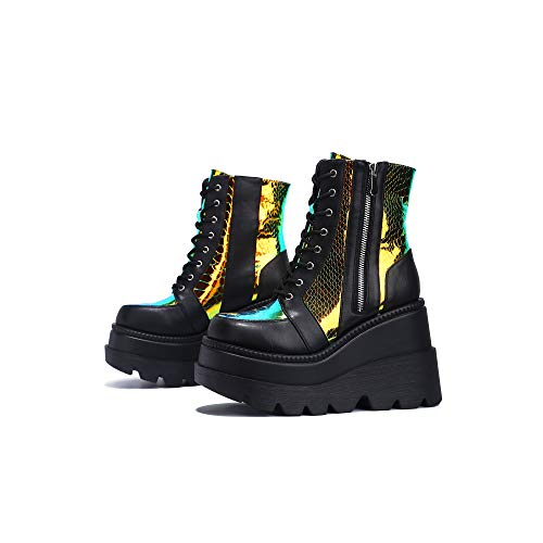 Cape Robbin Radio Holographic Platform Ankle Boots with Chunky Block Heels for Women - Black Size 11