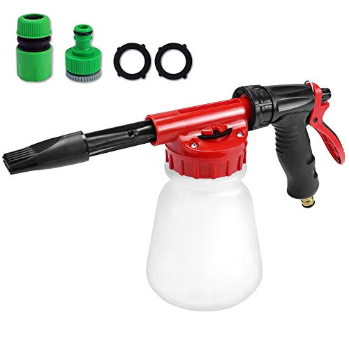 SUNYPLAY Car Wash Foam Gun,Adjustable Hose Wash Sprayer & Soap Ratio Dial, Foam Cannon for Car Home Cleaning and Garden Use with 1L Bottle